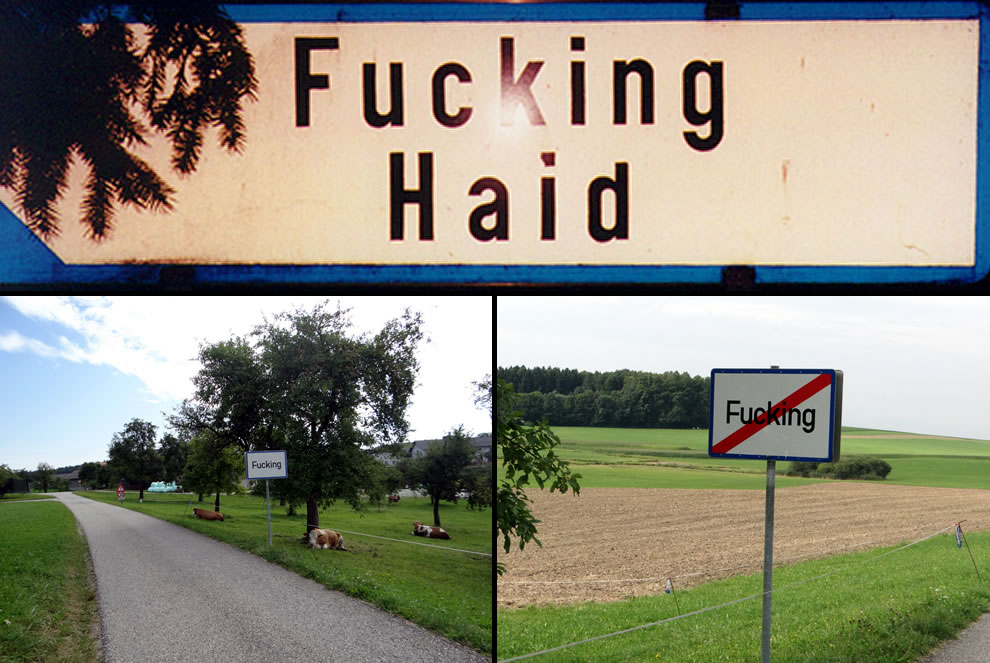 The frequently stolen traffic signs at the entrance to the village of Fucking, Austria, population 104