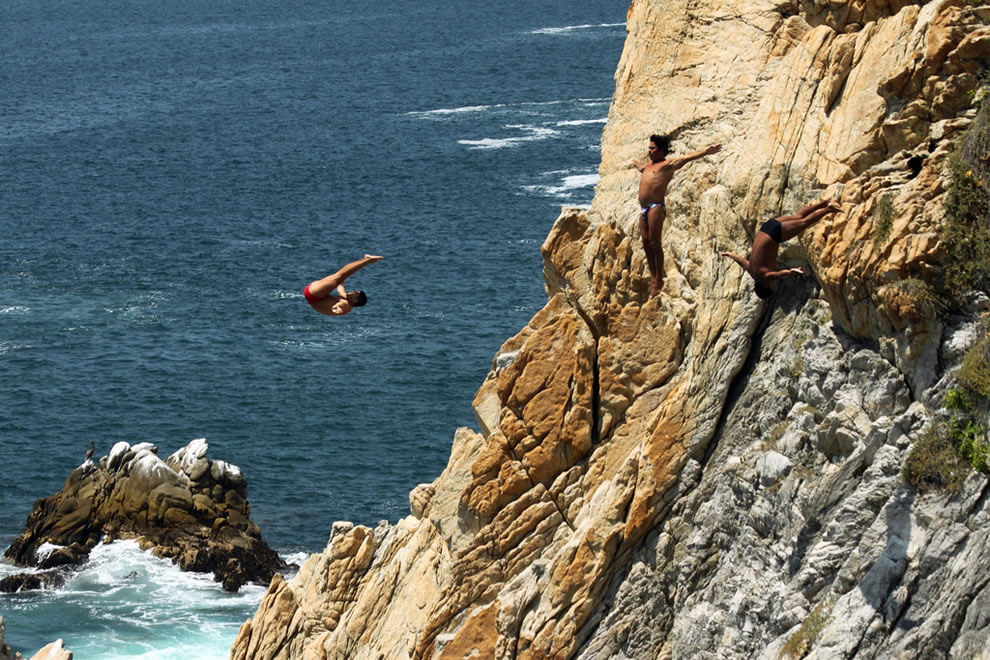 Triple jump at the Acapulco Cliff Dive Show