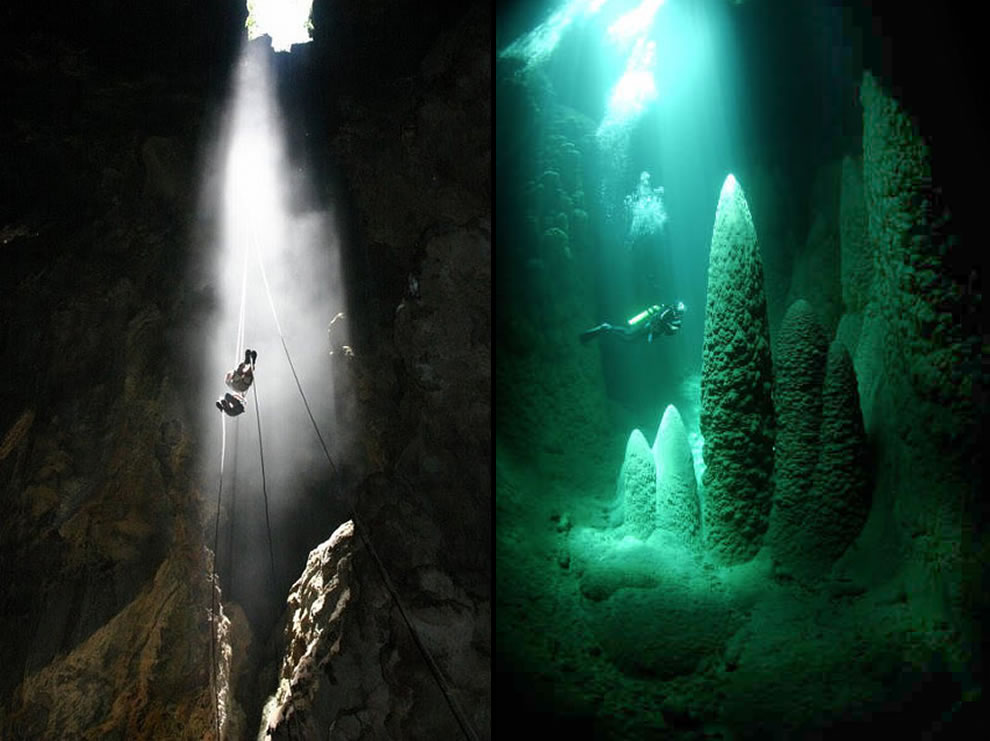 Abismo Anhumas in Bonito, Brazil, visitors rappel down through the hole and then dive in the underground cave