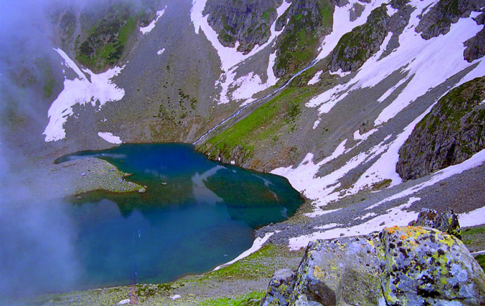Heart of Kackar glacier lake in the Kackar Mountains of Turkey
