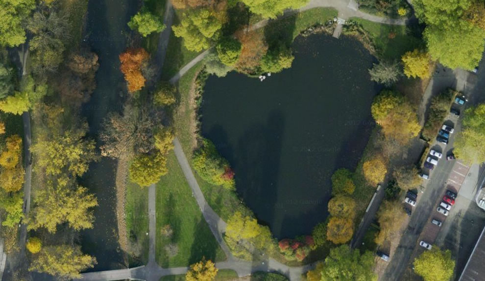 Heart-shaped lake in Braunschweig, Germany