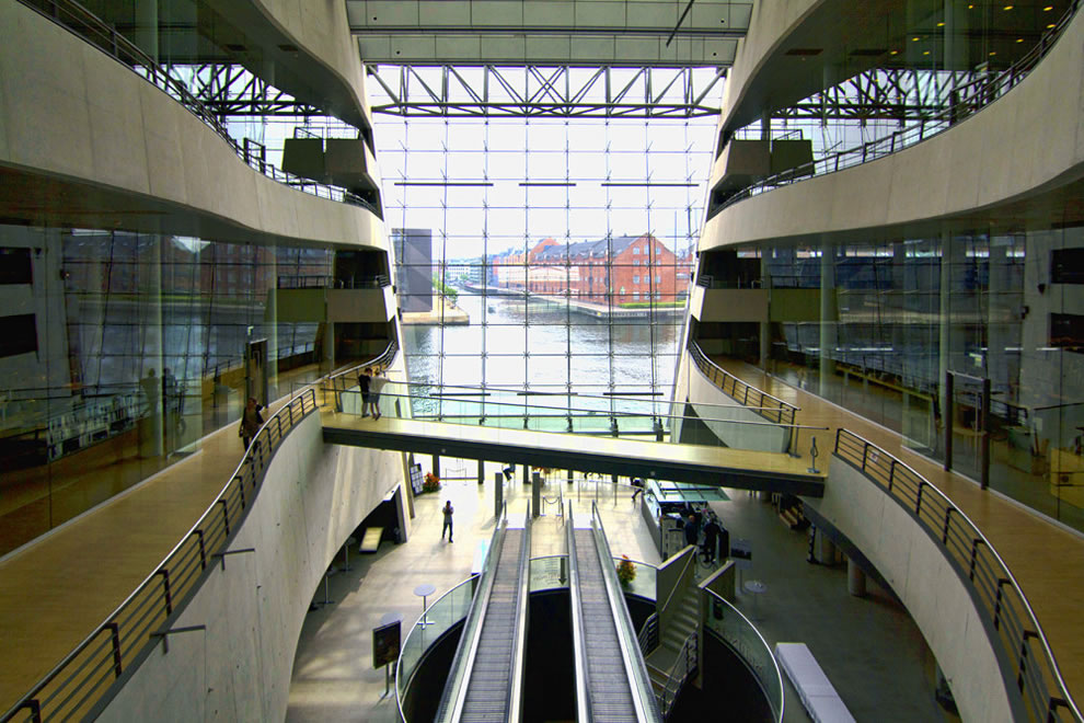 Inside the Black Diamond Royal Library in Copenhagen Denmark