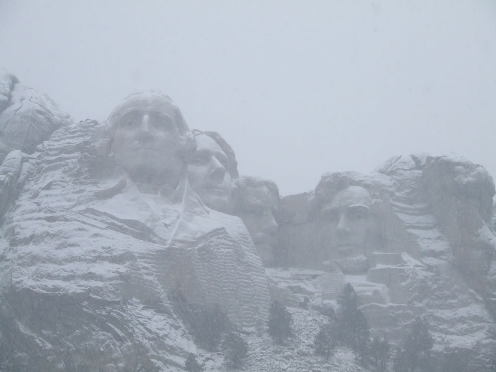Mount Rushmore in the snow