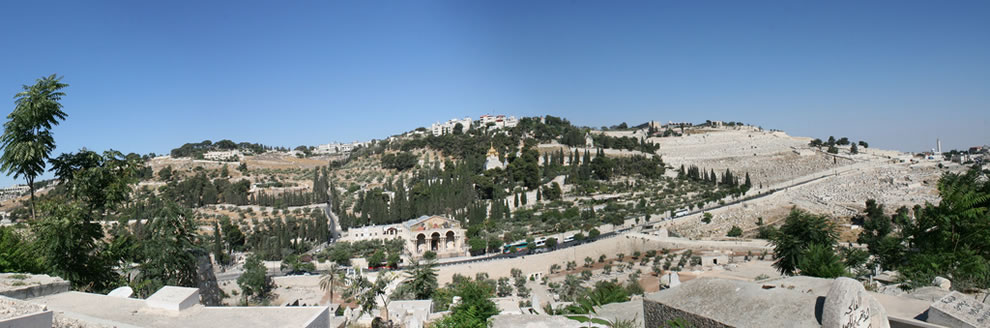 A panoramic of the entire Mount of Olives (Har Hazeiythim) taken from the East Gate of the Temple Mount in Jerusalem, Israel