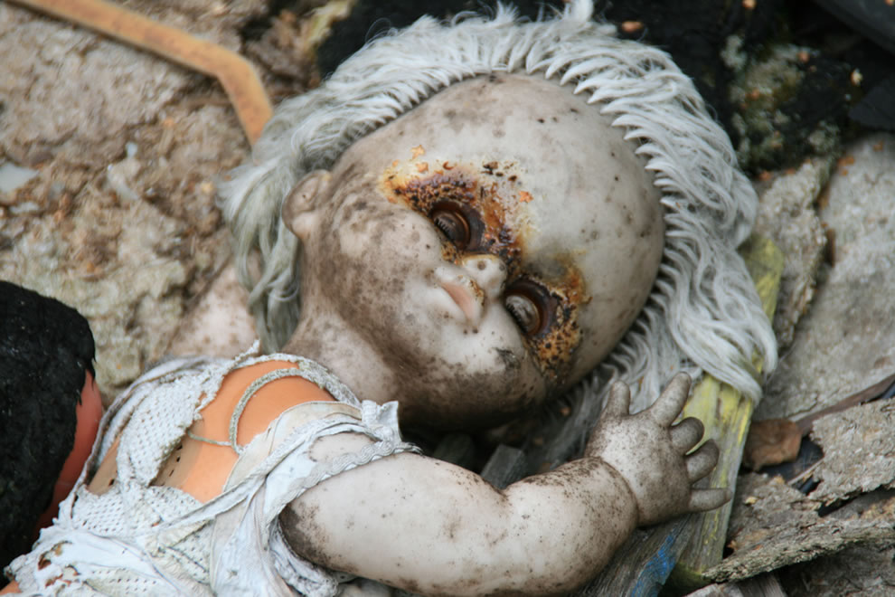 Abandoned Doll, Chernobyl Zone, outside Pripyat kindergarten in 2009