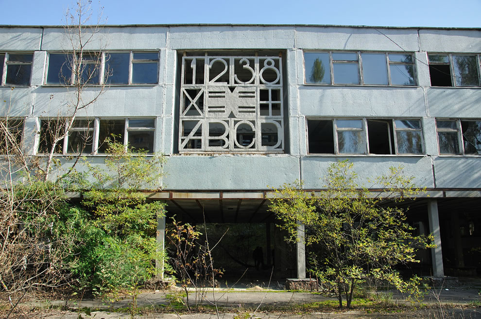 Abandoned city building in Chernobyl Exclusion Zone, October 2012