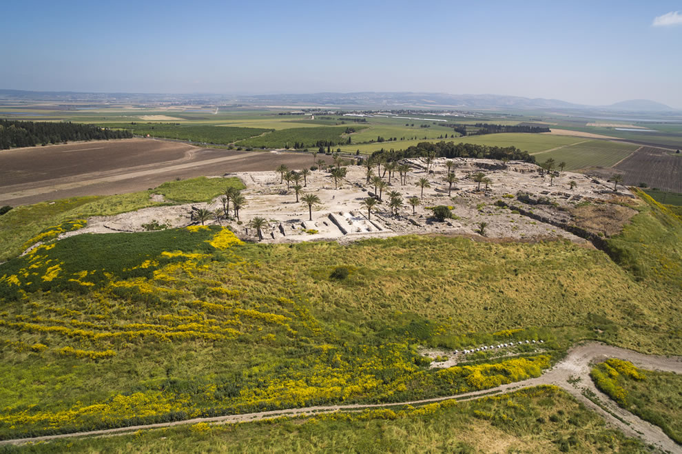 Aerial view of Tel Megiddo, where the Battle of Armageddon will be fought