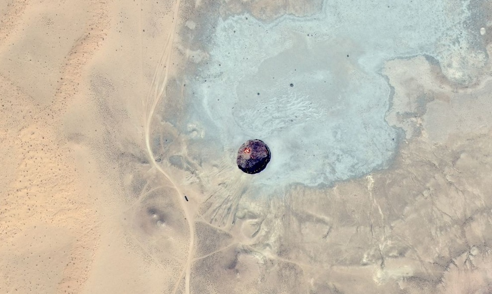 Bing map aerial of Door to Hell- The Burning Crater of Darvaza