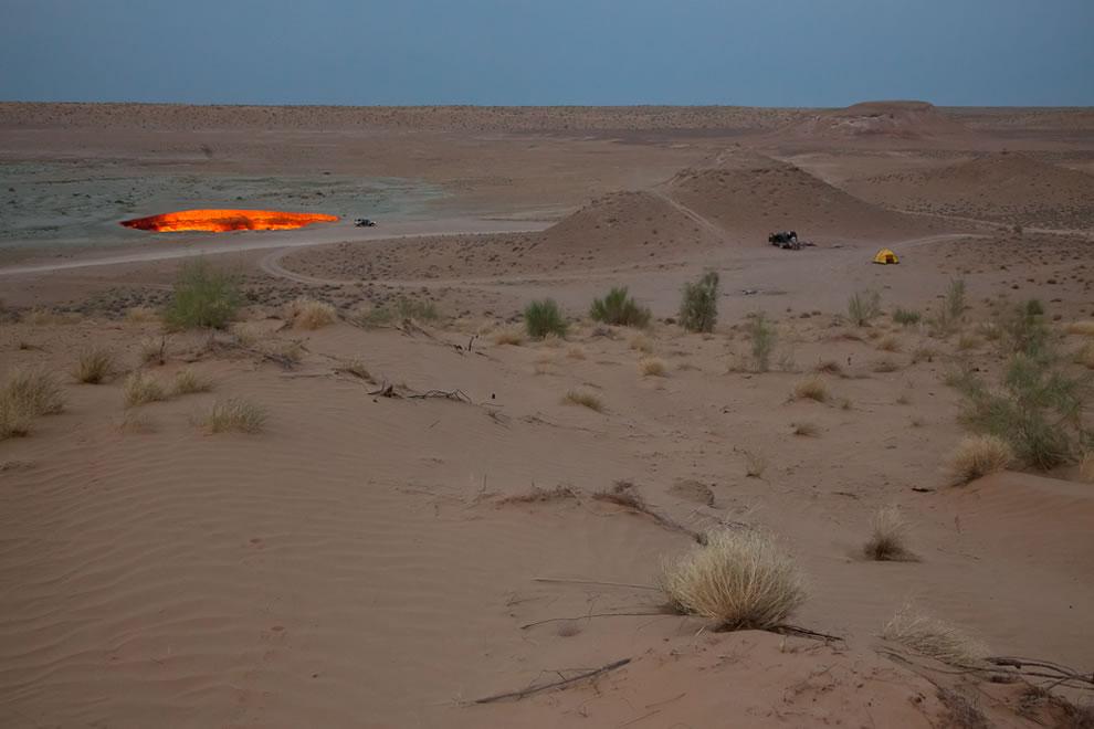 Camping at Darvaza, Turkmenistan