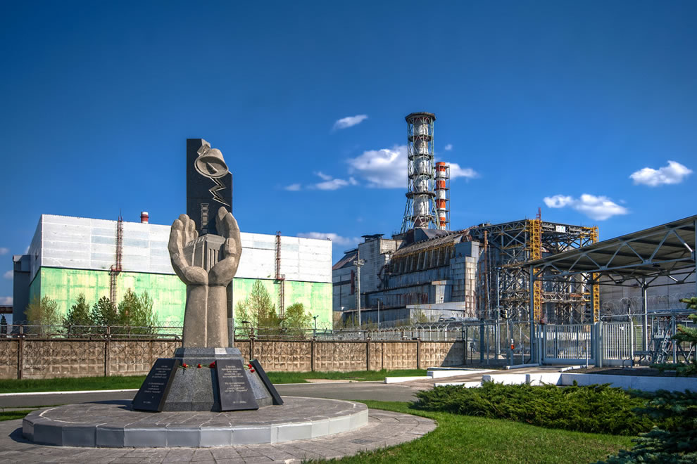 Chernobyl Monument and Reactor April 2012