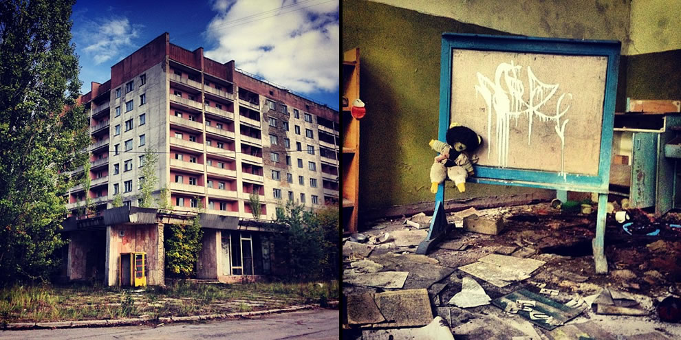 Chernobyl in September 2012 Abandoned apartment block and forgotten radioactive teddy bear as seen  inside an abandoned school