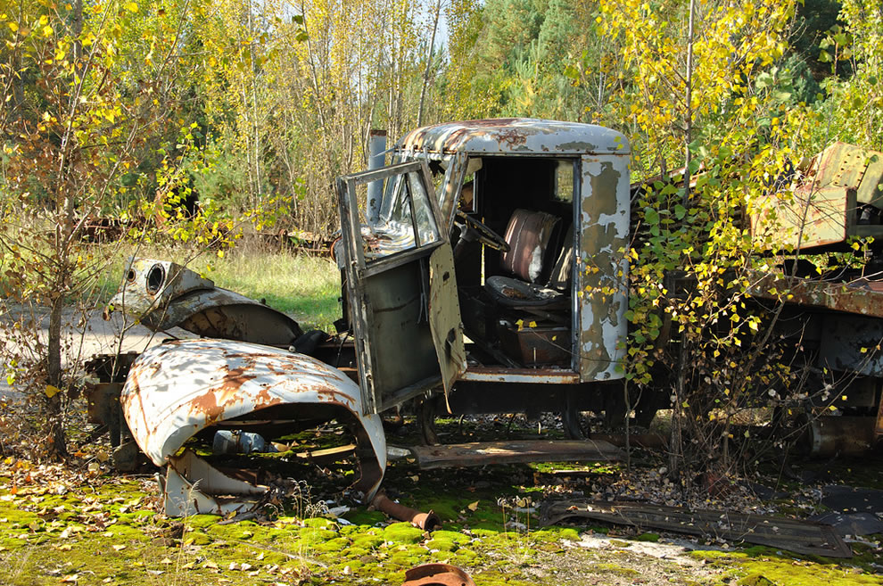 Chernobyl vehicle graveyard October 2012