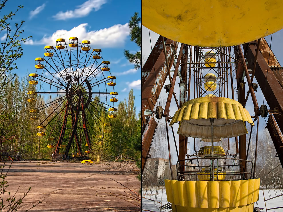 Derelict Pripyat Ferris Wheel, abandoned Chernobyl Exclusion Zone