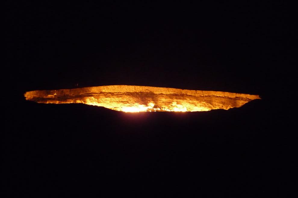 Flaming crater at night, Flaming crater, Darvaza. Karakoum desert