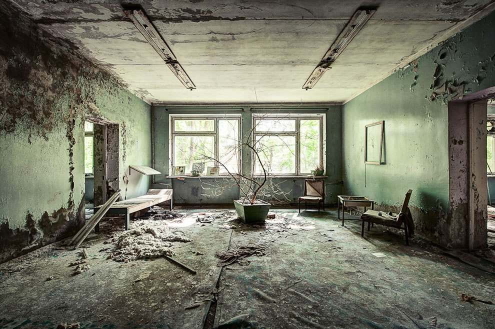 Inside the hospital located in the Chernobyl Exclusion Zone