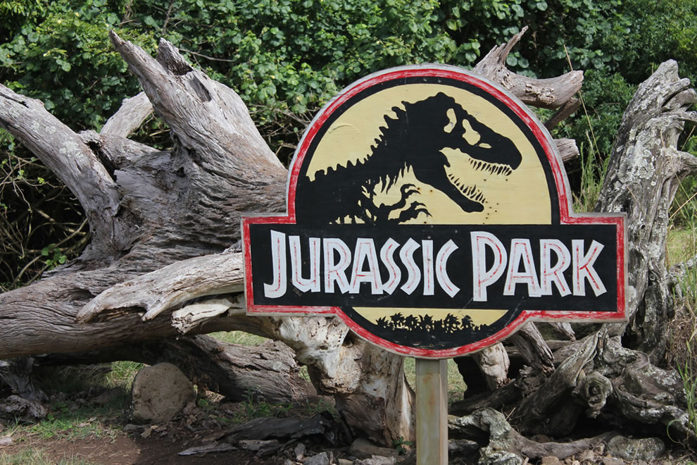 Jurassic Park sign at filming location of Kualoa Ranch on the island of Oahu