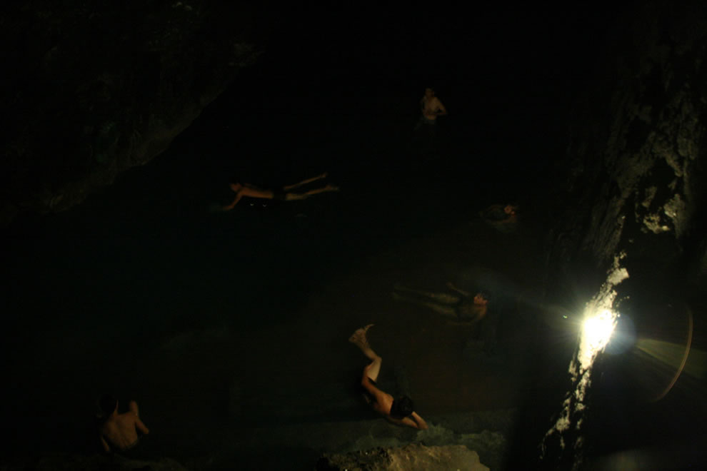 Natural thermal spa, Kow Ata Underground lake in Bakharden Cave, a national nature preserve