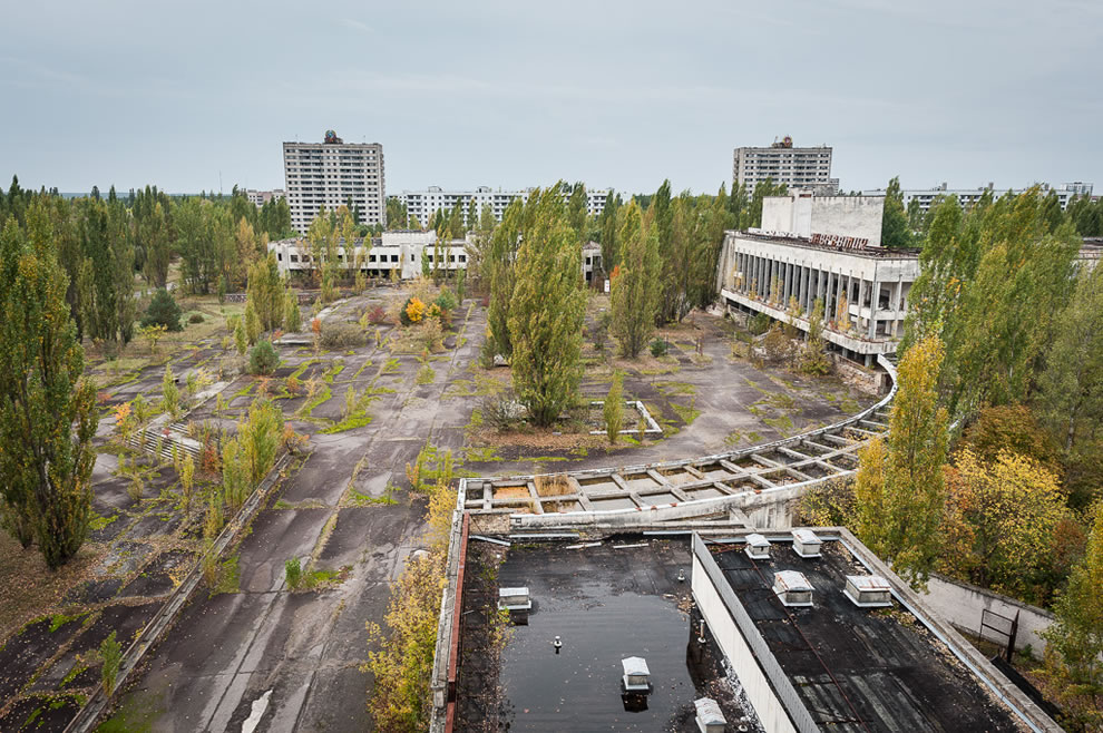 Pripyat - Lenin Square during fall season in 2012