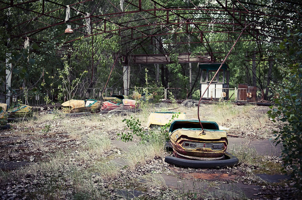 Rusty crusty radioactive Bumper Cars in Pripyat, abandoned due to disaster amusement park