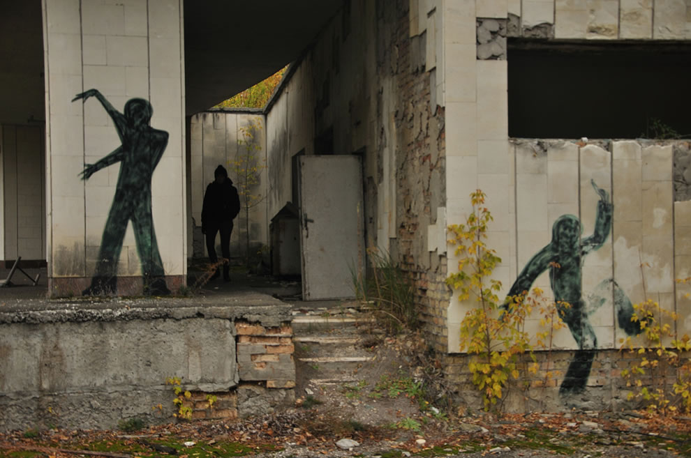 Shadow Graffiti and shadow at abandoned ghost city Chernobyl Exclusion Zone October 2012