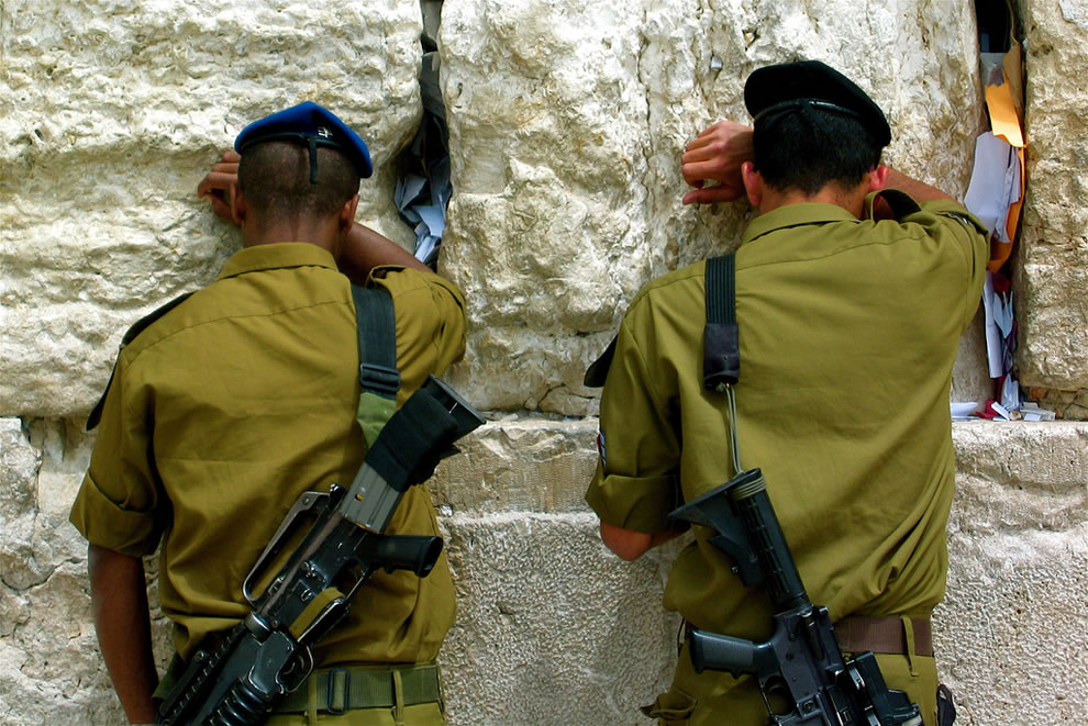 Soldiers at the Wailing Wall