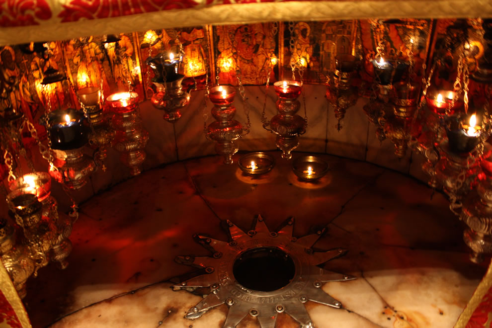 Star marking the birthplace of Jesus Christ in the Grotto of the Nativity, Bethlehem