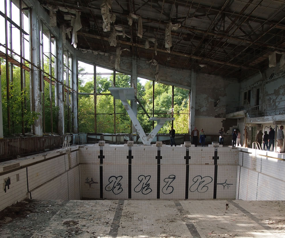 Swimming pool in the abandoned city of Pripyat, near the Chernobyl plant. Taken on September 8, 2012