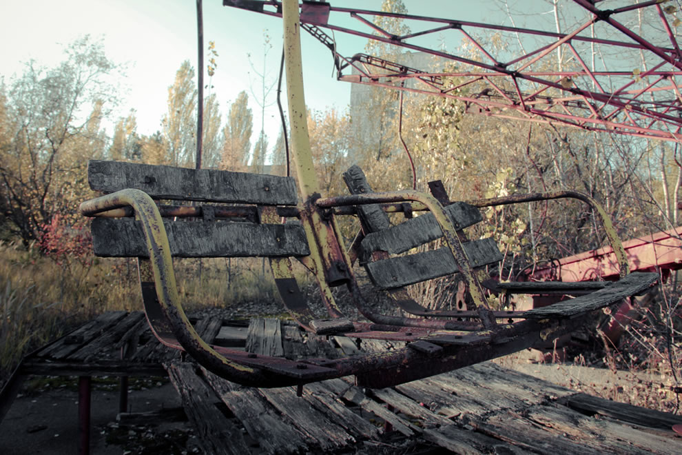 Tandem at Pripyat's amusement park never officially opened. It's now the most highly radioactive place in the city October 2011