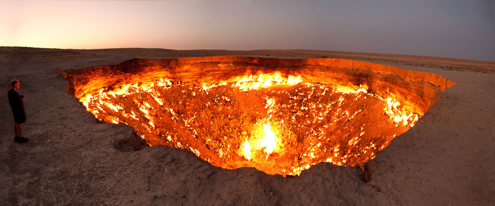 The Door to Hell, a burning natural gas field in Derweze, Turkmenistan