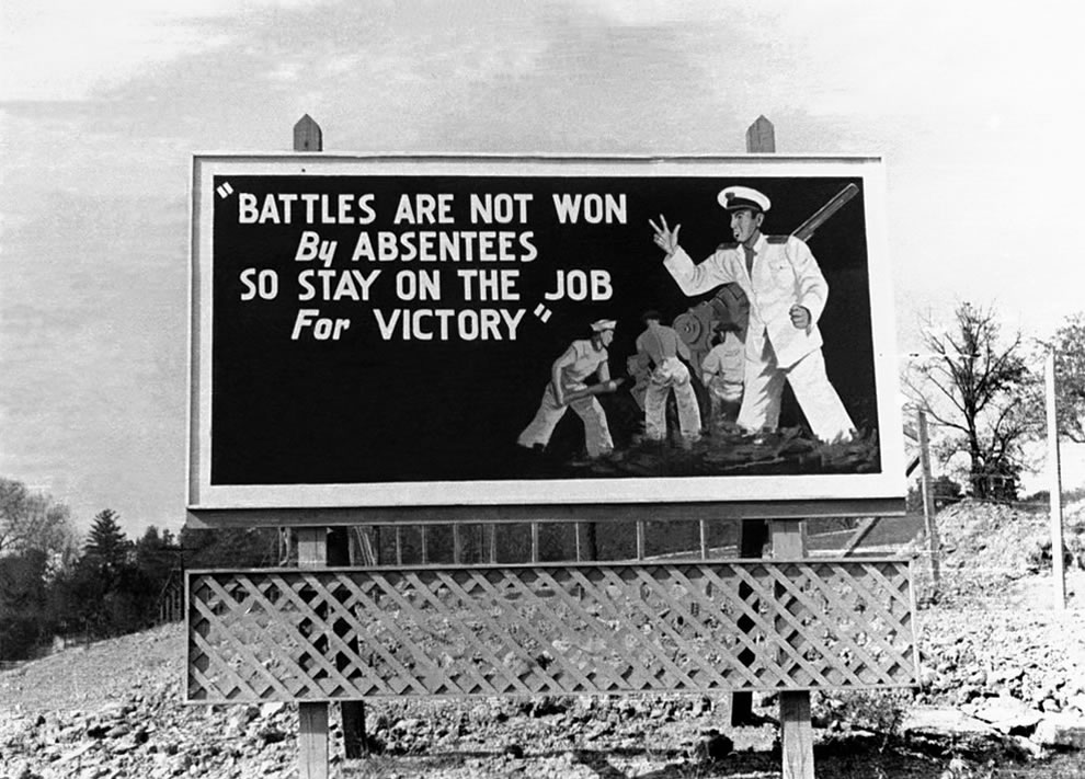 Battles are not won by Absentees, Oak Ridge TN billboard in November 1943