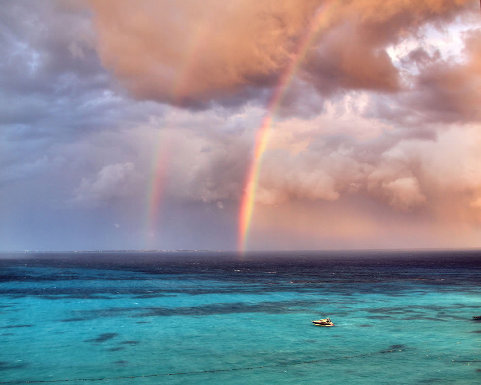 Double rainbow during a stormy Cancun afternoon