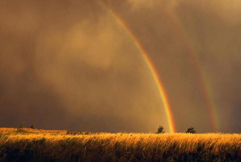 Double rainbow, golden nature
