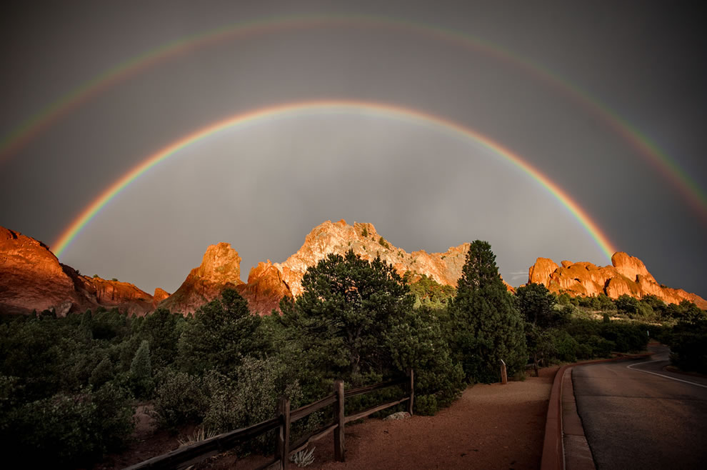 Double rainbow over Garden of the Gods in Colorado Springs, CO