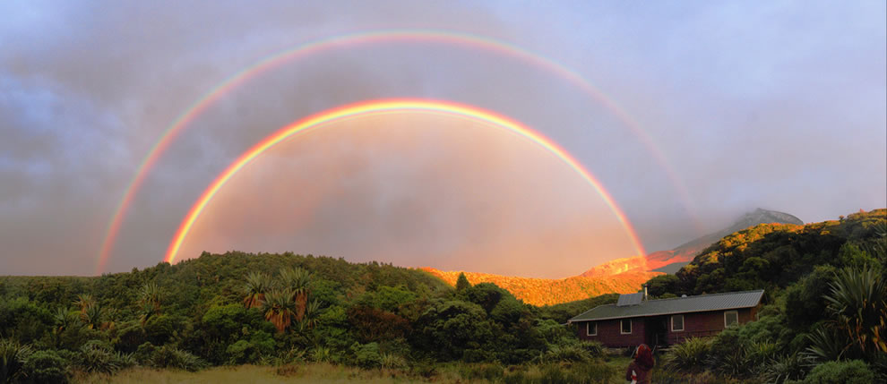 Double rainbow over Holly Hut, New Zealand
