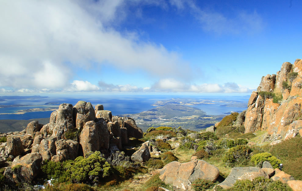 From the peak of Mount Wellington in the Tasmanian Wilderness, Tasmanian Wilderness World Heritage Area