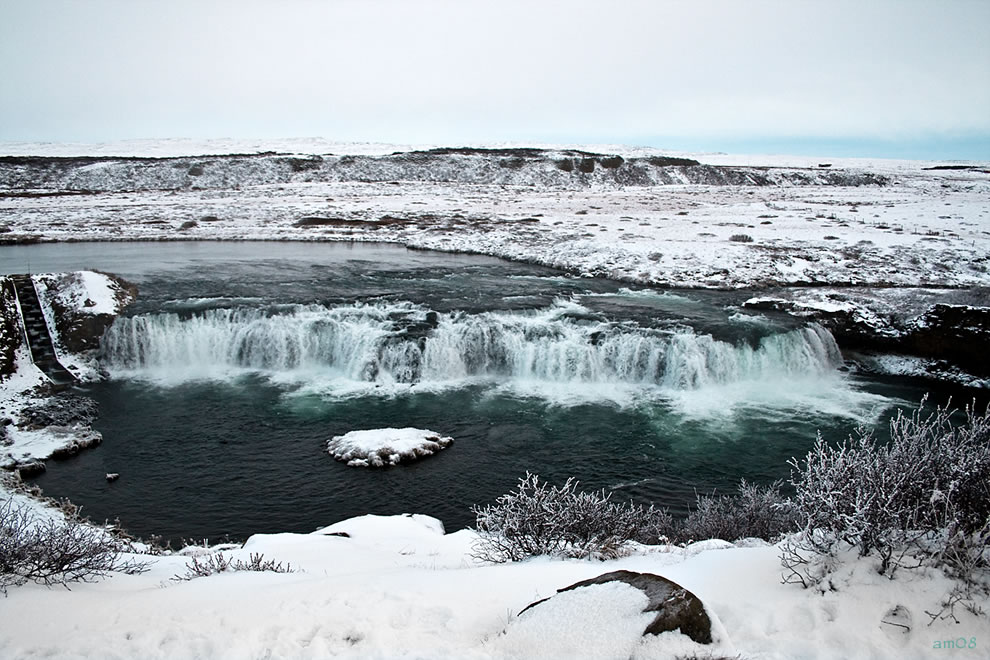 Frozen south Iceland and Faxi, Vatnsleysufoss, waterfall