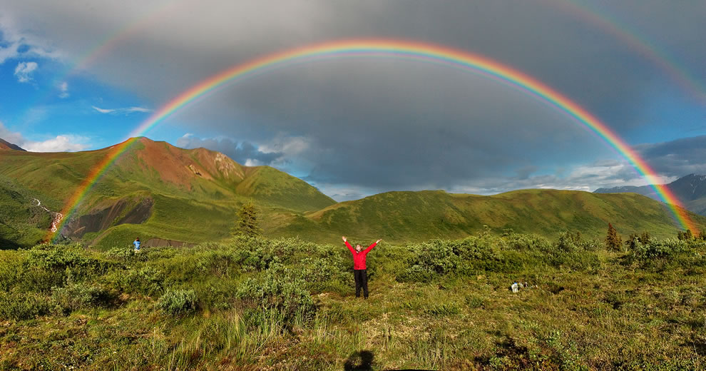 Full featured double rainbow in Wrangell-St. Elias National Park, Alaska