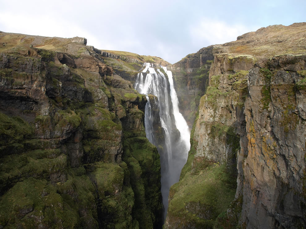Glymur, panorama of what used to be the tallest waterfall in Iceland