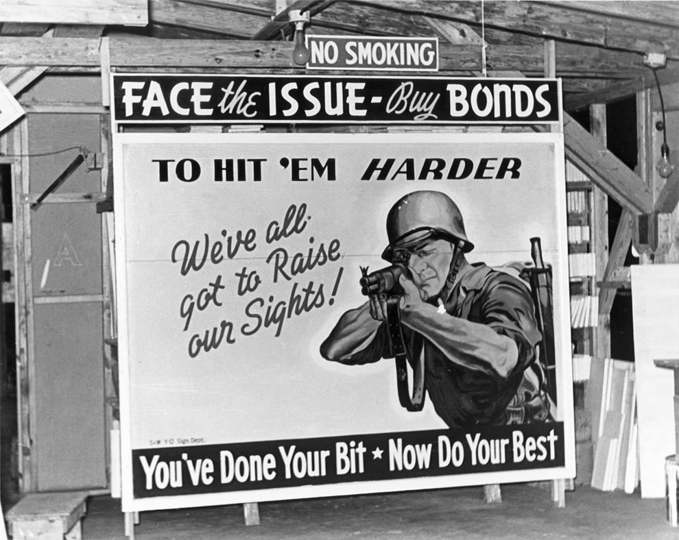 Hit 'em harder billboard in Oak Ridge in October 1944
