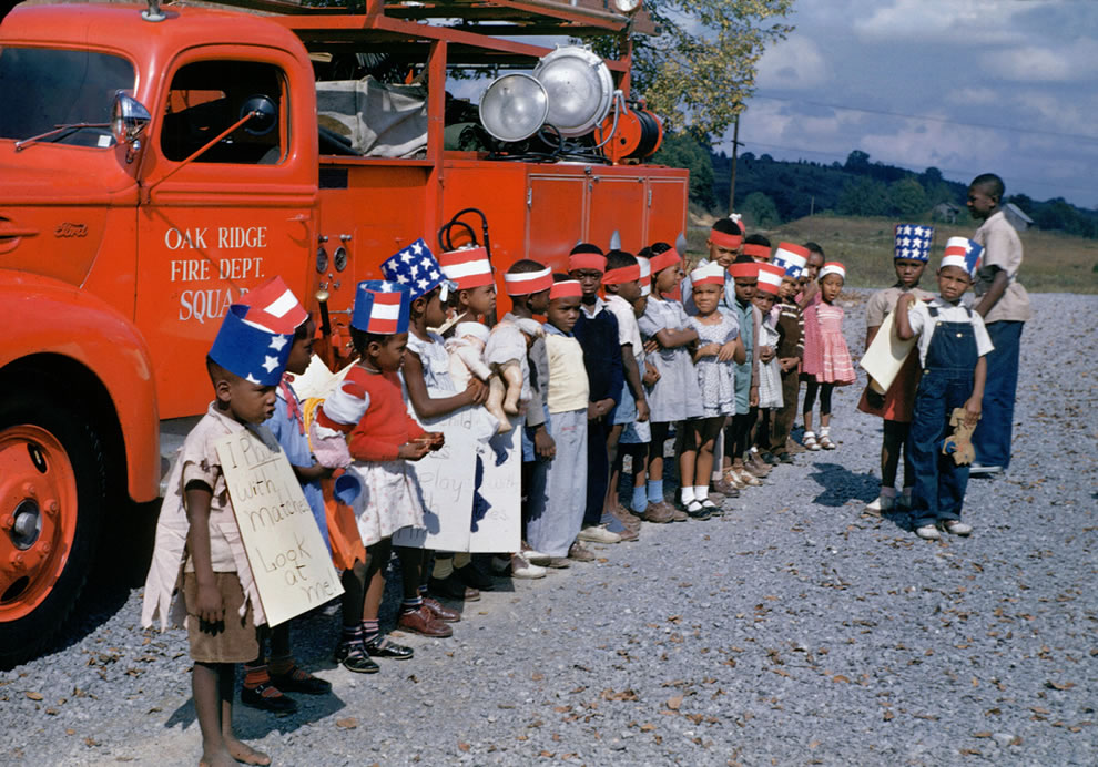 I played with matches 1940s Fire Truck and kids on Kodachrome in Oak Ridge Tennessee