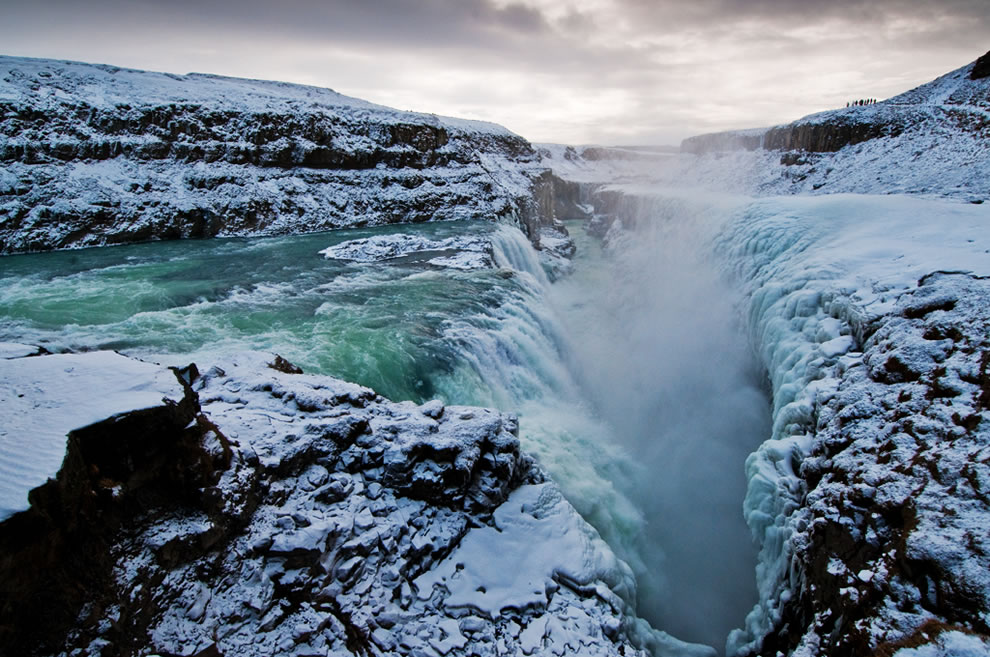 Iceland waterfall, Golden Falls (Gullfoss) and chasm in early March
