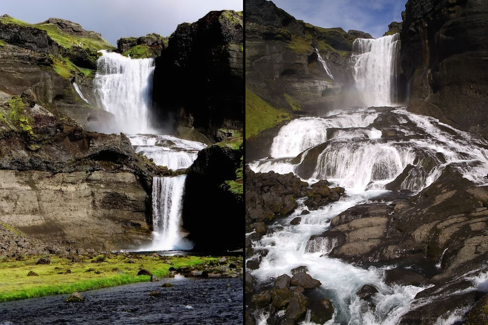 Ofaerufoss cascading waterfall in Iceland