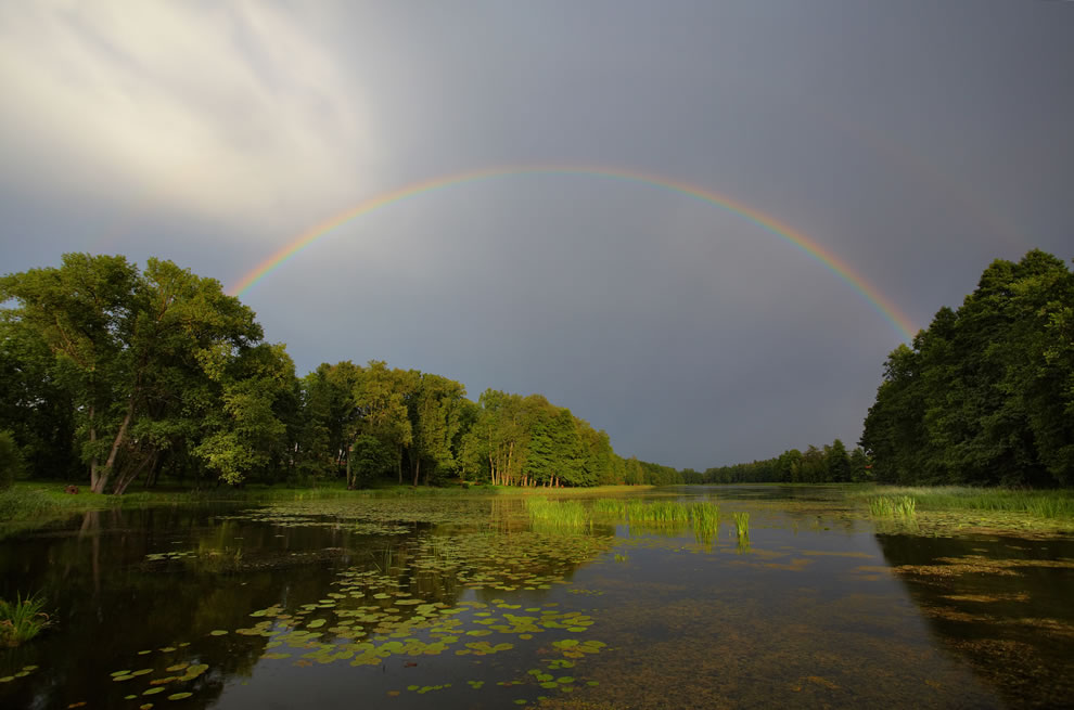Rainbow over Lake Väimela Alajärv, in Võru County, Estonia