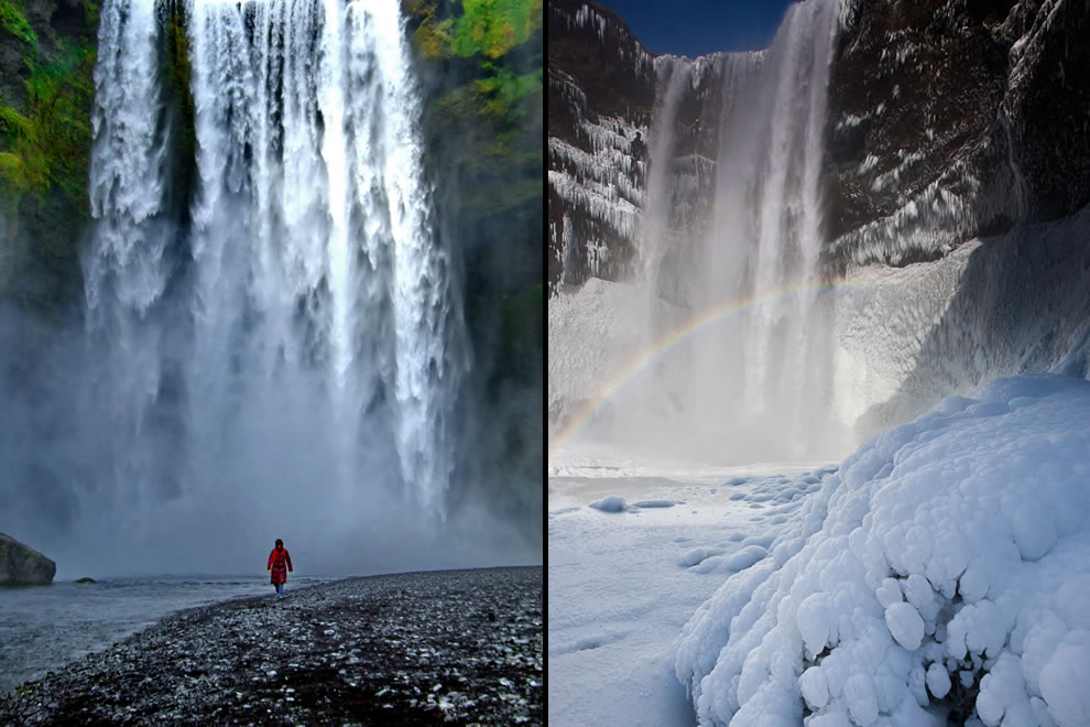 Skógafoss (Forest Falls), this plunge waterfall drops 197 ft (60 m) and is 82 ft (25 m) wide