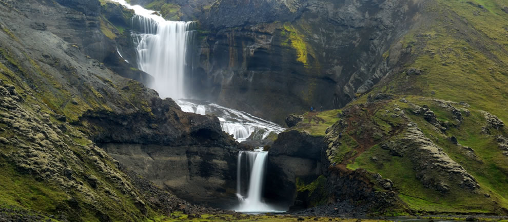 South Iceland waterfall, Ofaerufoss used to be noted for the impressive natural bridge which stood above the falls, but it collapsed in 1993