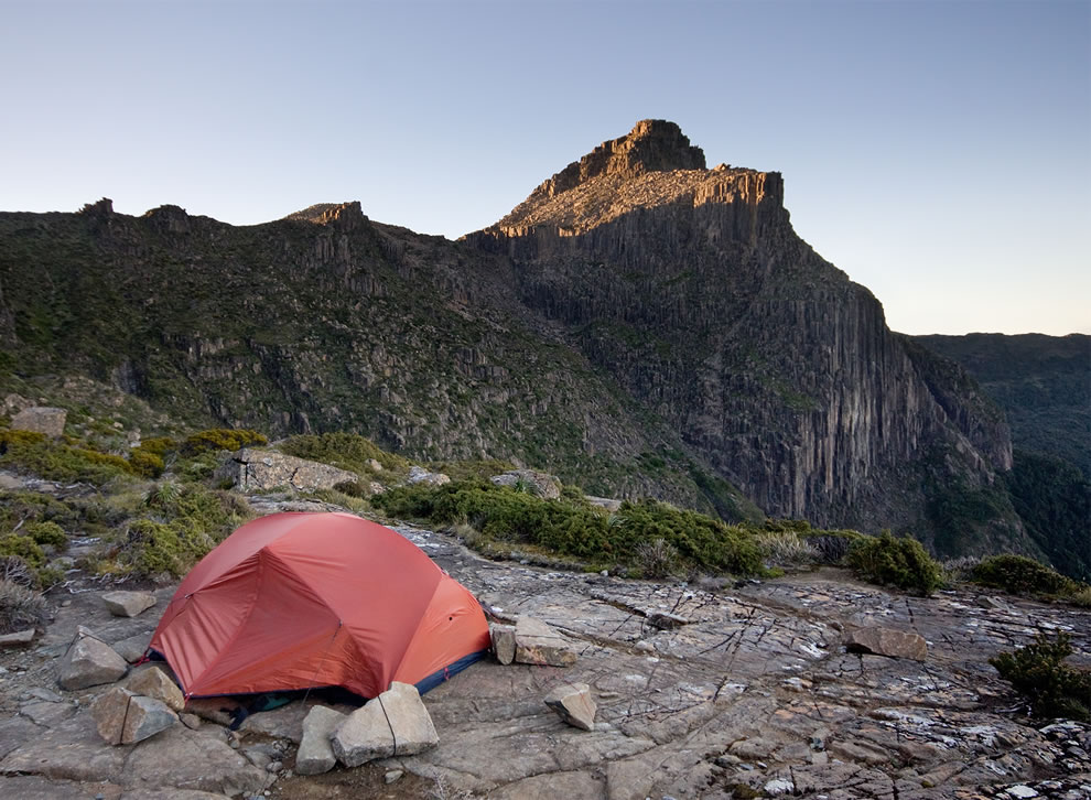 Tent at High Shelf Camp, near Mt Anne, Southwest National Park, Tasmanian Wilderness World Heritage Area, Tasmania, Australi