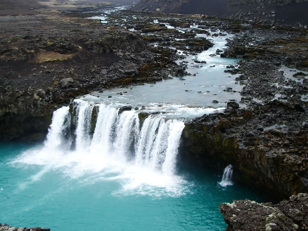 The waterfall Þjófafoss viewed from Merkurhraun lava fields