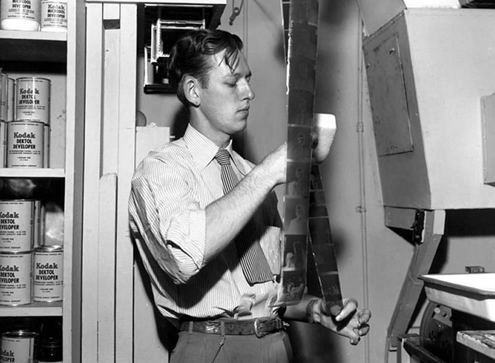 US government photographer Ed Westcott, Army Corp of Engineers, in his dark room at Clinton Engineer Works, Oak Ridge, 1945