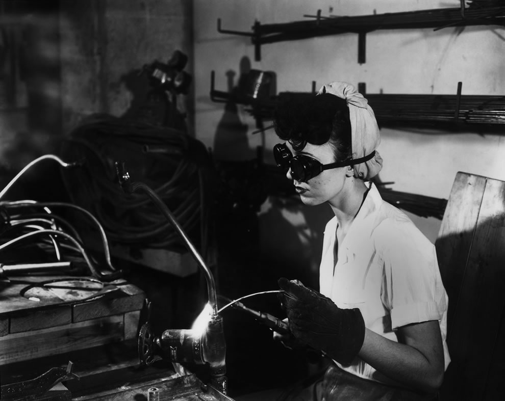 Woman Welding at K-25 Oak Ridge Tennessee February 1945