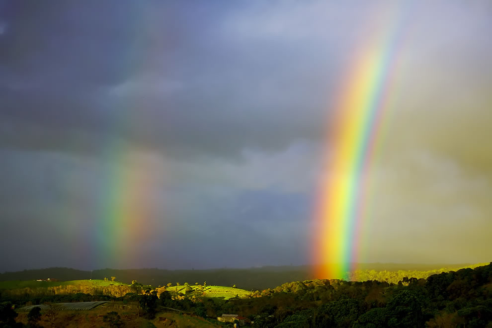 Amazingly bright double rainbow in Costa Rica